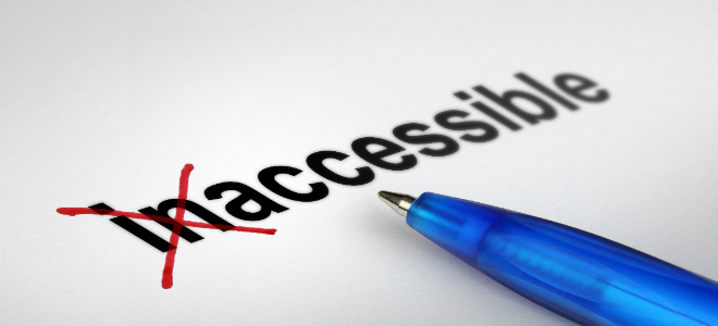 "The word ""inaccessible"" with ""in"" crossed out by a pen"