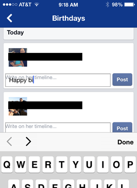 In Facebook app, text input for birthday message is blocked by floated label.