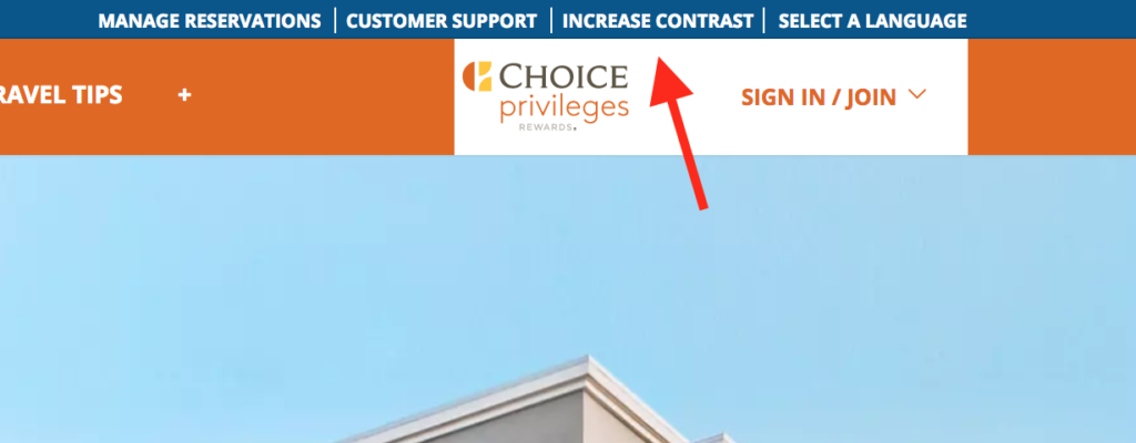 partial screen shot of Choice Hotels website; arrows points to text increase contrast
