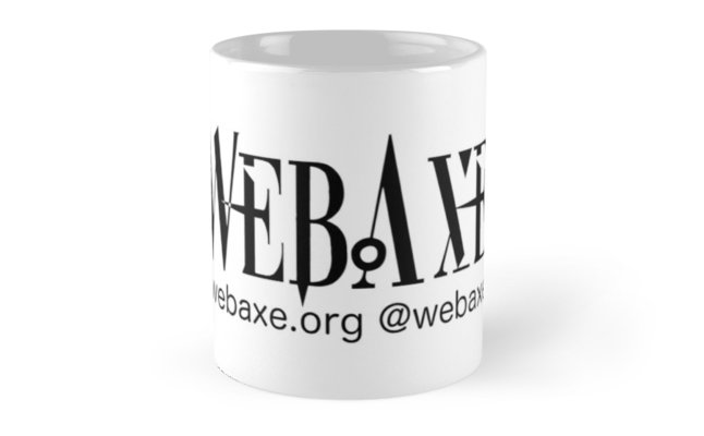 White mug with black Web Axe logo, email and twitter handle