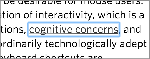 "blue ring around the words ""words cognitive concerns"" in a block of text"