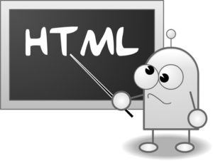 illustration of the letters HTML written on a chalkboard with confused cartoon-like character pointing to it