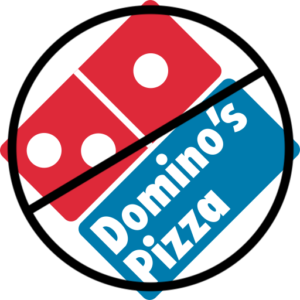 Domino's Pizza logo with line thru it